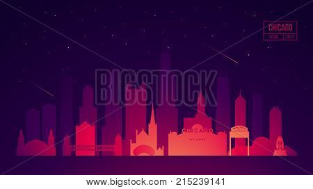 Chicago skyline with its most notable buildings, detailed vector illustration