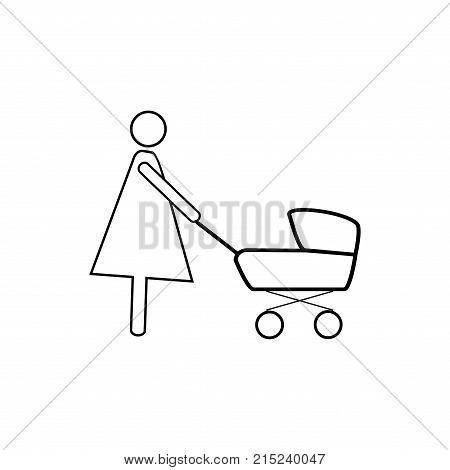 Silhouette Mother Baby Stroller Vector & Photo | Bigstock