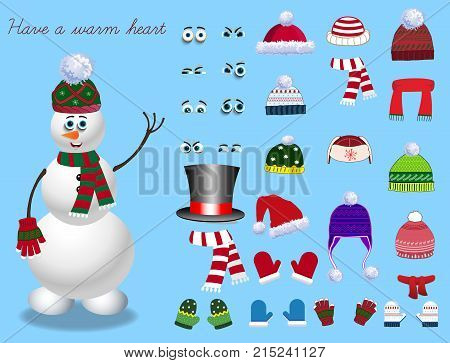 Set For Creation Cute Cartoon Snowman Character.