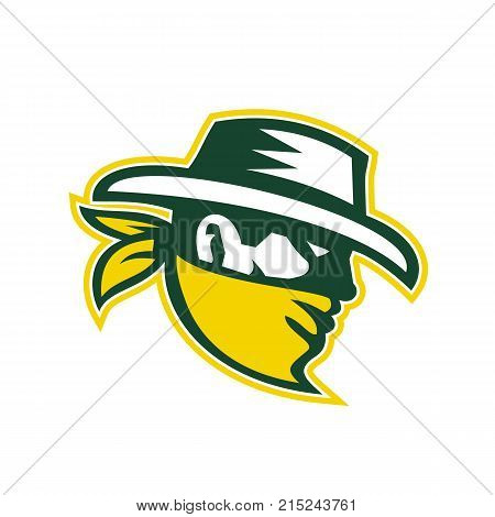 Retro style illustration of green bandit mascot, outlaw, robber, marauding gang member viewed from side on isolated background.