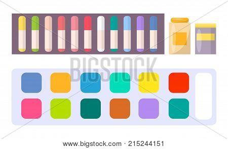 Set of watercolor paints, acrylic oils in tubes, colorful rayons vector illustration isolated on white background. Art school stationary equipment
