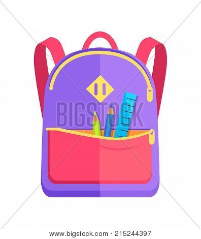 Backpack for child with school stationery accessories pencils and ruler in back pocket vector isolated. Backpack in purple, red and yellow colors