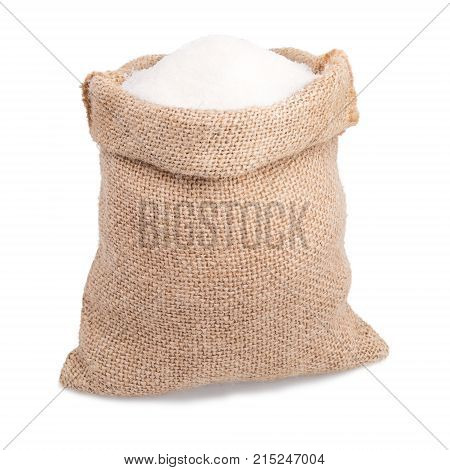 sugar in burlap sack bag isolated on white background
