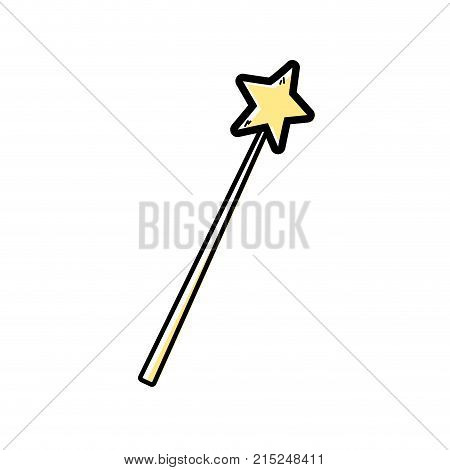 color magic wand stick to wizard object vector illustration