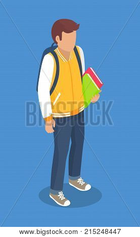 Schoolboy from secondary school with backpack, holding books in hands vector illustration isolated. Pupil cartoon character with rucksack