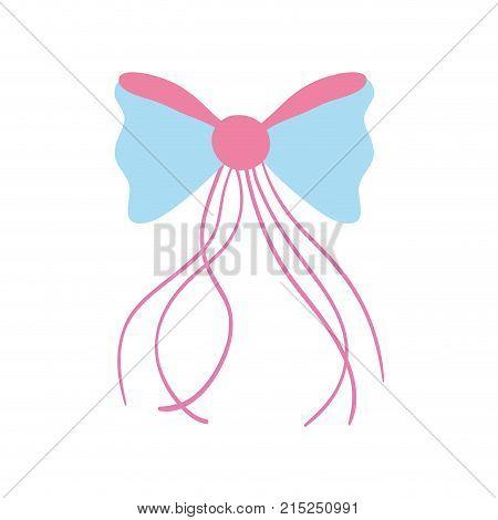 ribbon bow with slats decoration design vector illustration
