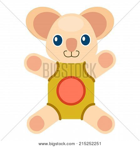 Cute koala bear with blue eyes and big ears in beige rompers with red circle isolated vector illustration on white background.