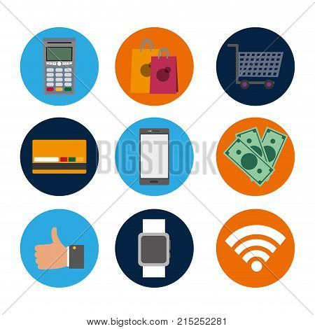 set nfc technology with dataphone transaction to shopping vector illustration