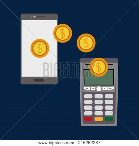 dataphone nfc payment wih coins and smartphone technology vector illustration