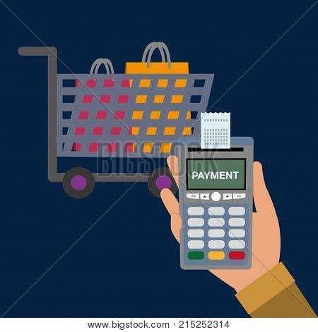 dataphone in the hand with receipt and shopping car with bags vector illustration