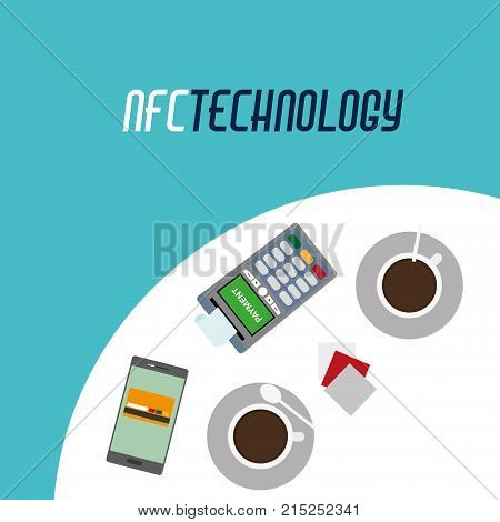 dataphone with receipt and smartphone technology in the table with coffee cup vector illustration