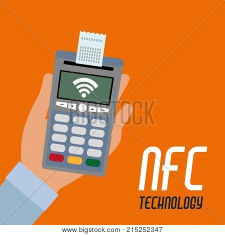 nfc dataphone with receipt and wifi connection payment vector illustration