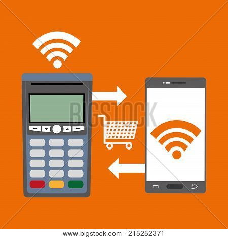 shopping in the smartphone technology and dataphone transaction vector illustration