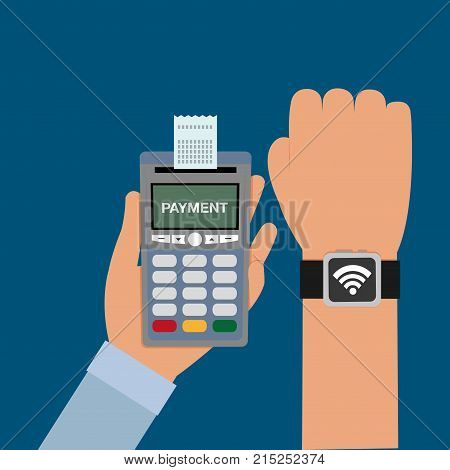 dataphone in the hand with receipt and smartwatch transaction vector illustration