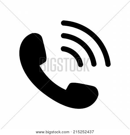 Phone Icon in flat style. Telephone symbol isolated on white background. Phone icon vector illustration in black. Handset icon for logo or app. Phone sign with waves. Phone Icon for web design.
