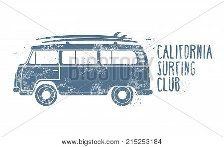 Retro van with surfboards on roof - vintage minibus summer vacation