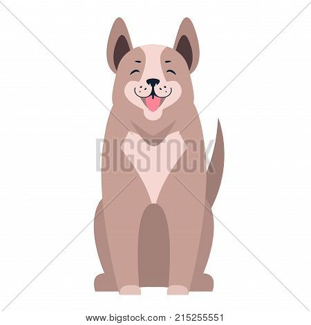 Happy dog sitting with smiling muzzle and hanging out tongue isolated flat vector. Lovely purebred cartoon pet illustration for animal friends and companions concepts, pet shop ad