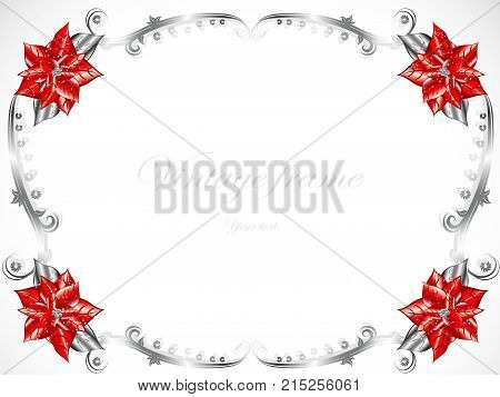 Christmas design frame with red Christmas flowers