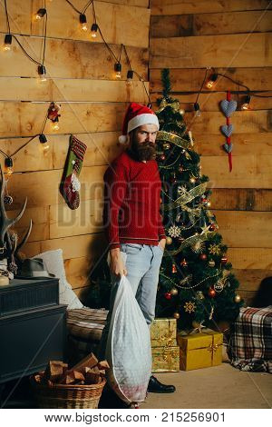 Santa Claus Man With Gift Pack.