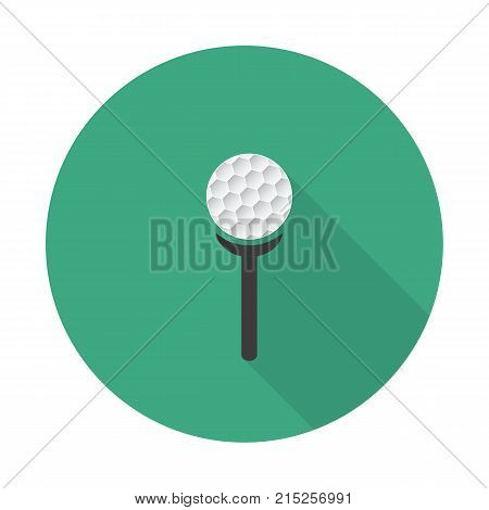 Flat Golf Icon With Long Shadow, Golf Characters.white Golf Ball And Tee On A Green Background.
