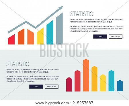Statistic posters with growing financial infographic charts, analitics balance with rises and falls bars vector illustration web banners set