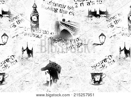 Black and white London grunge background. Texture with hand drawn elements unreadable text tea cup fashion girl. Pattern for wrapping wallpaper textile fabric.
