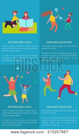 Mother and daughter playing badminton, mom with child sitting on blanket, catching butterflies, running or jogging vector illustrations set of posters
