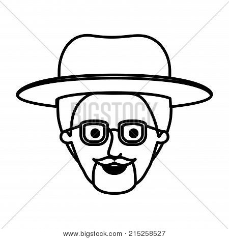 male face with glasses and short hair and hat and van dyke beard in monochrome silhouette vector illustration