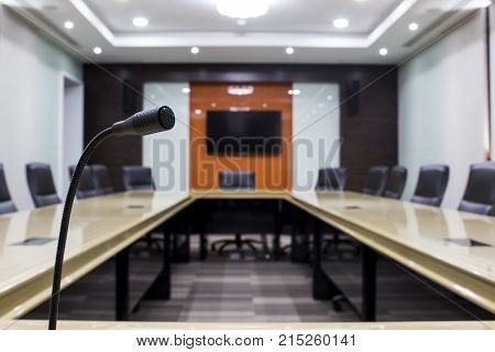 Microphone and modern table boardroom Business in office