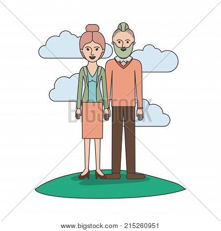 couple colorful scene outdoor and her with blouse and jacket and skirt and heel shoes with collected hair and him with beard and sweater and pants and shoes with taper fade haircut vector illustration