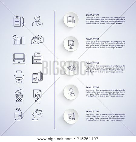 Infographic and explanatory information with titles to each image, icons of man, cup and lamp, computer on left side vector illustration
