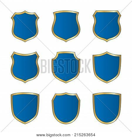 Shield Gold Blue Icons Set Shape Emblem