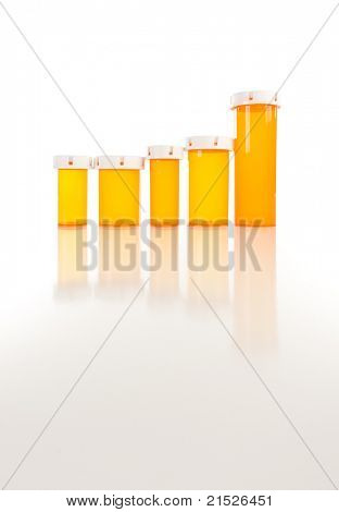 Several Different Sized Empty Medicine Bottles as Increasing Graph on Reflective Surface. poster