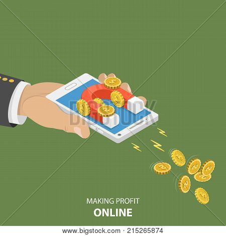 Making money online flat isometric vector concept. Hand is holding a smartphone with magnet on it that is attractioning coins with dollar sign.