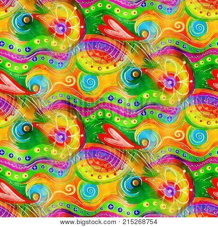 Hand painted digital watercolour folk art doodle pattern.