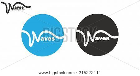 Wavy line waves logo set brand insignia clean wavy line design