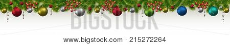 Christmas and New Year banner with fir-trees garlands and berries. Christmas card flyer or site header.