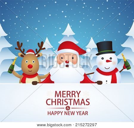 Christmas companions with champagne on a snow-covered background with Christmas trees. Santa Claus snowman reindeer on winter background.