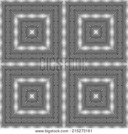 Design seamless monochrome lacy pattern. Abstract decorative background. Vector art. No gradient poster