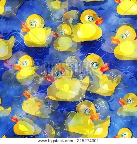 A seamless background paper with yellow rubber ducks.