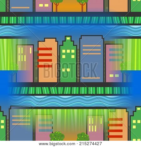 A digitally created seamless textile design with skyscraper buildings.
