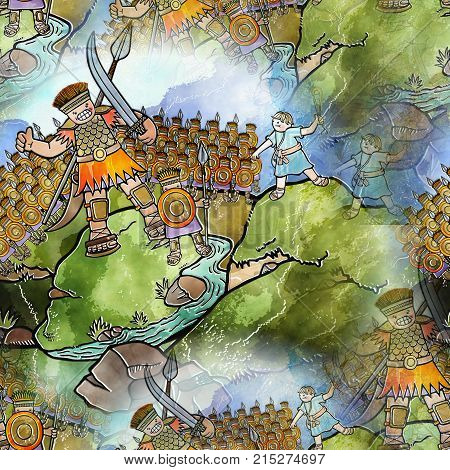 Hand drawn digitally painted David and Goliath battle scene. This is a seamless textile print version.