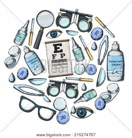 Set of medical optometry accessory for correct vision - contact lens solution lens case eye test chart glasses. Vector