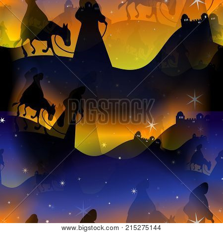 A tile able festive Christmas background with Mary and Joseph travelling to Bethlehem.