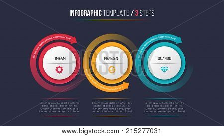 Three steps infographic process chart with circular arrows. 3 options vector template for presentations, data visualization, layouts, annual reports, web design.