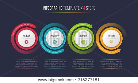 Four steps infographic process chart with circular arrows. 4 options vector template for presentations, data visualization, layouts, annual reports, web design.
