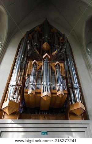 Pipe Organ In Hallgrimskirkja Church In Reykjavik