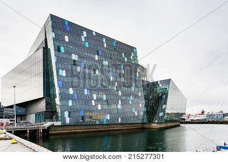 Harpa Concert Hall In Reykjavik City In Autumn