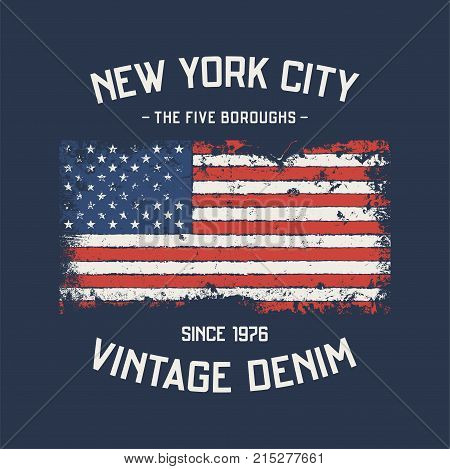 NYC the five boroughs t-shirt and apparel design with grunge effect. Vector print, typography, poster, emblem.