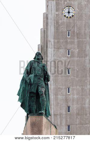 Monument Of Leifur Eiriksson Near Hallgrimskirkja